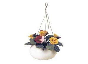 Euromini's Porseleinen hangpot met bloemen