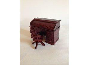 AM004 roltop bureau met draaistoel, mahonie AFM: 13x6x9 cm