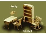 Woodcraft Poppenhuismeubels Studeerkamer