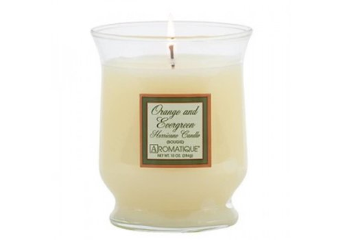 Orange & Evergreen Hurricane Candle, Small