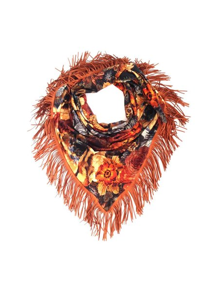 Loved by Blanche Flower Scarf - Brown