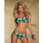 Fashion Bikini met Blokjes Patroon Multicolor Groen