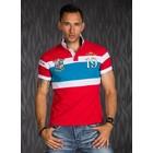 Polo Shirt met Sportieve Contrast Strepen Rood / Blauw