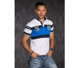 Polo Shirt met Sportieve Contrast Strepen Wit / Blauw