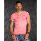 T-Shirt met V-vormige Halfopen Knoopsluiting-Hals Coral