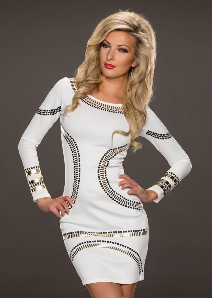 Witte jurk met lange mouwen