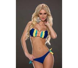 Bandeau Bikini Set met Ruffles Royal Blauw