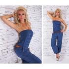 Lange Strapless Jumpsuit Donker Blauw