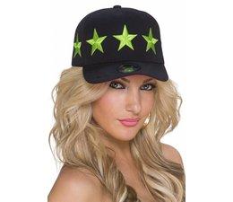 Baseball Cap met Gestikt Ster Logo Neon Groen