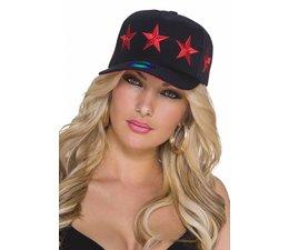 Baseball Cap met Gestikt Ster Logo Rood / Zwart