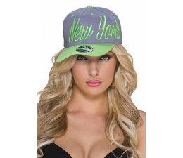 """Baseball Cap met Gestikt """"NEW YORK"""" Logo Grijs / Groen"""