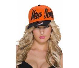 "Baseball Cap met Gestikt ""NEW YORK"" Logo Oranje / Zwart"