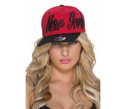"Baseball Cap met Gestikt ""NEW YORK"" Logo Rood / Zwart"