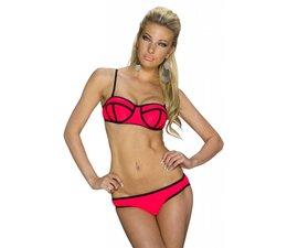 Beugel Bikini Set met Streep Design Rood