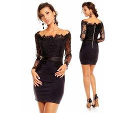 Elegante Fashion Jurk Donker Blauw / Zwart