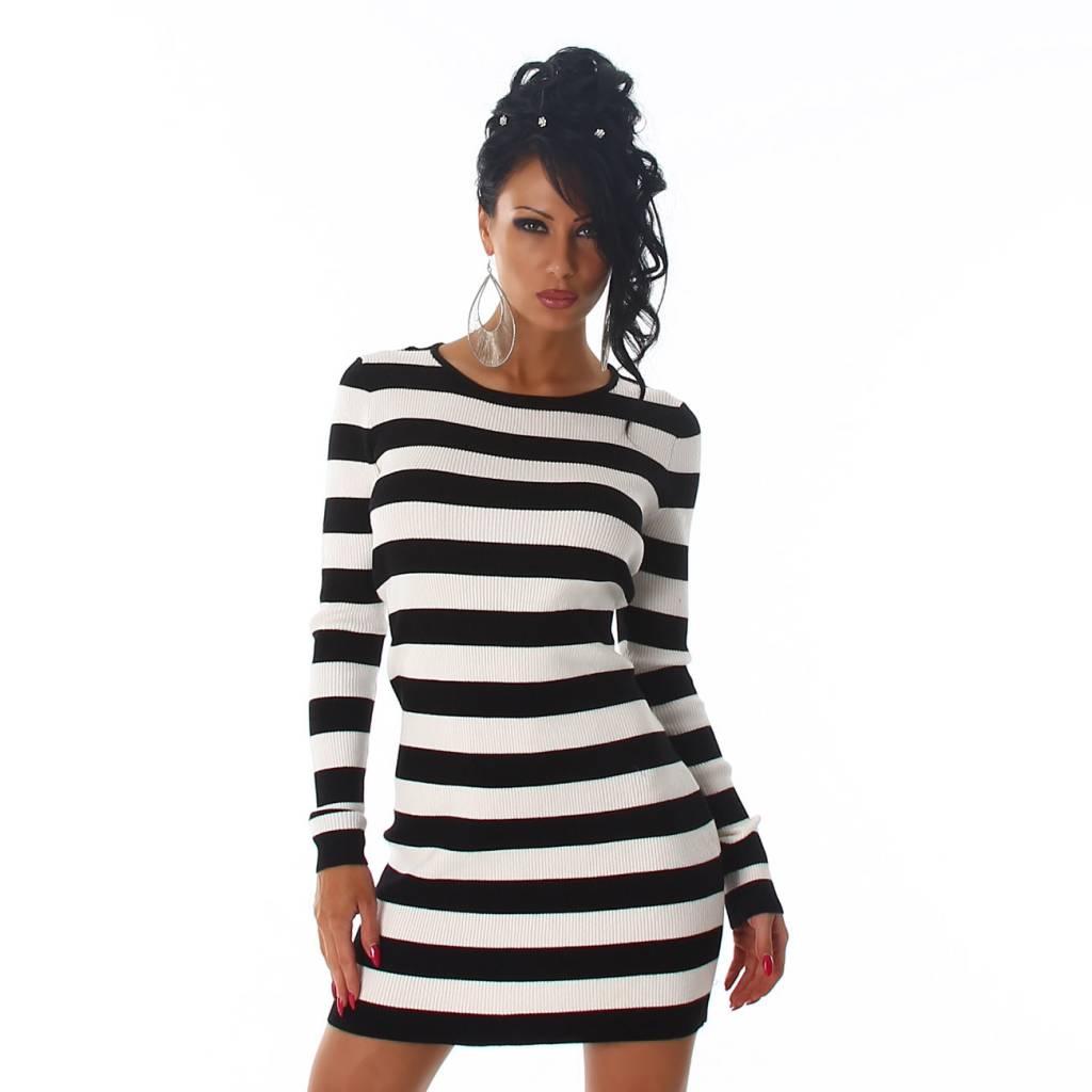Lange zwart witte jurk