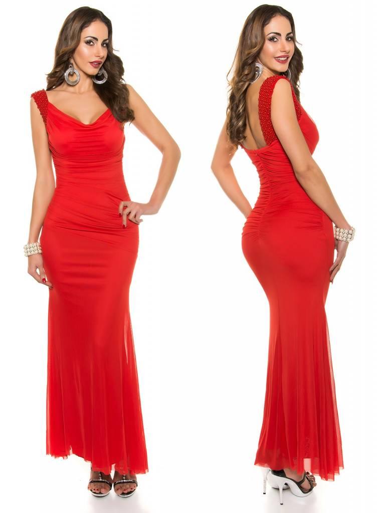 0a96c8d88a67c2 Elegante Lange Avondjurk met Watervalhals Rood - Fashion Of M