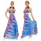 Tropical Lange Avondjurk met Bloemenprint Blauw
