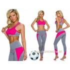 2-Delige Gym Legging met Sport BH Pink / Grijs