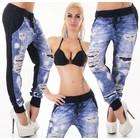 Lange Joggingbroek in Vernietigd Jeans Style Zwart