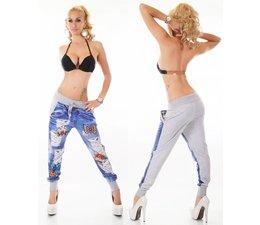 Lange Joggingbroek in Vernietigd Jeans Look Grijs