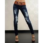 Skinny Jeansbroek in Gewassen & Vernietigd Look Blauw