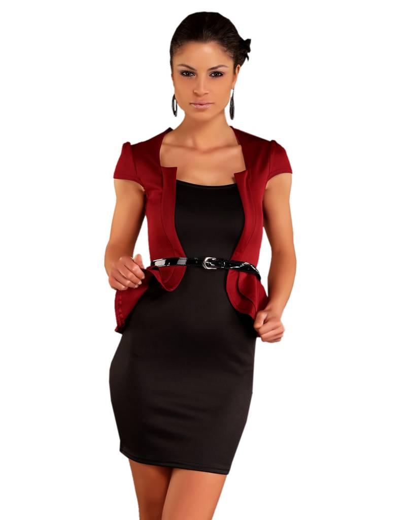 peplum fashion mini jurk bordeaux zwart fashion of m. Black Bedroom Furniture Sets. Home Design Ideas