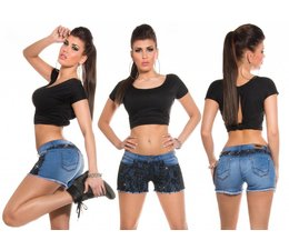 Fashion Jeanshort met Kant & Strass Zwart
