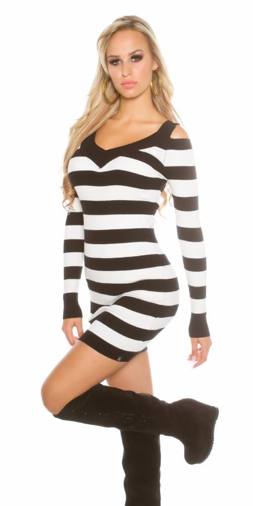 Lange Trui Zwart.Ribgebreide Lange Trui Korte Jurk Zwart Fashion Of M