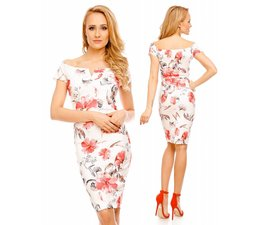 Elegante Fashion Jurk met Bloemenprint Wit