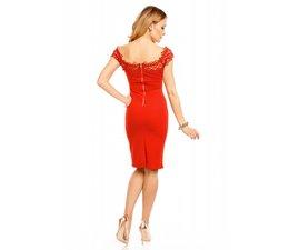 Fashion Jurk met Carmen Halslijn Rood