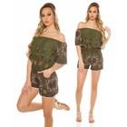 Fashion Playsuit met Off-Shoulders Khaki