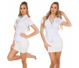 Dames Overhemd Blouse met Korte Mouwen Wit