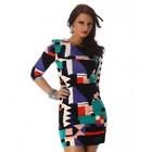 Fijn Gebreide Multicolor Fashion Jurk