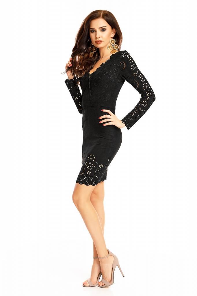 Zwart glitter jurkje met lange mouwen