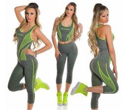2-Delige Gym Legging Set Neon Geel