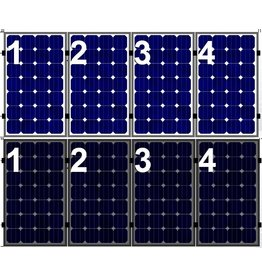 Clickfit Set 1 rij van 4 zonnepanelen portrait  golfplaten dak