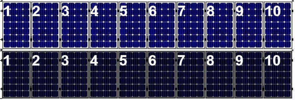 Clickfit Clickfit set 1 rij van 10  zonnepanelen portrait golfplaten dak