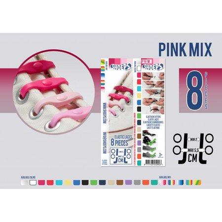 Shoeps Elastische veter pink mix 8 stuks