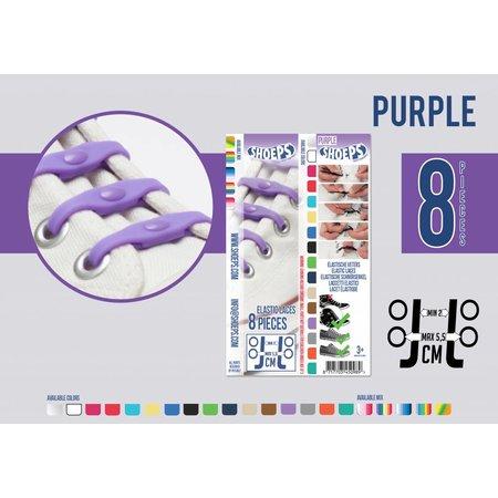 Shoeps Elastische veter purple rain 8 stuks
