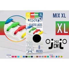 Shoeps Elastische veter mix regenboog 8 stuks XL