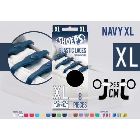 Shoeps Elastische veter navy blue 8 stuks XL