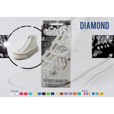 Shoeps Elastische veter Diamond wit