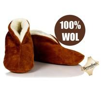 Spaanse sloffen 100% wollen voering cognac/camel