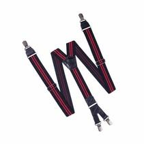 Bretels HENDRIK zwart met dubbele rode streep