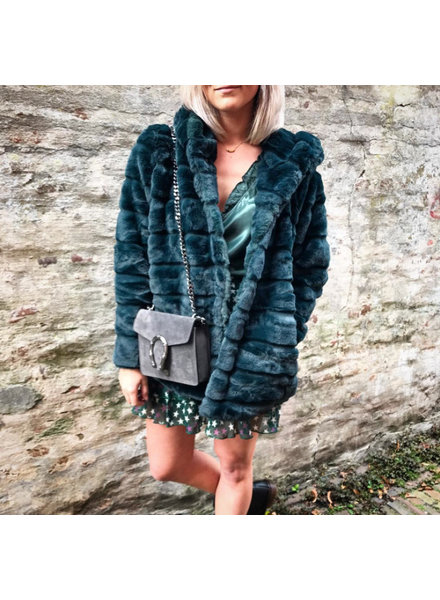 HOODED FURRY JACKET GREEN