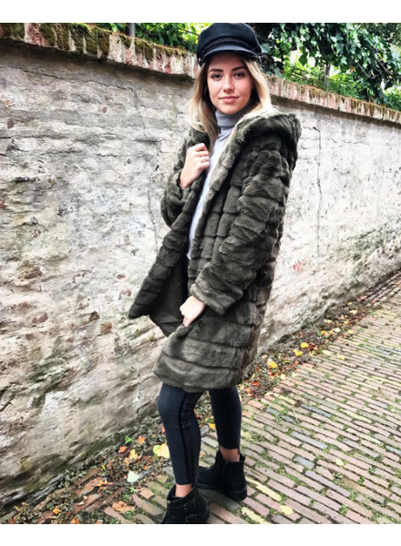 HOODED FURRY JACKET LONG ARMY