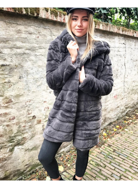 HOODED FURRY JACKET LONG GREY