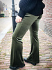 VELVET FLARED STRETCH  PANTS ARMY