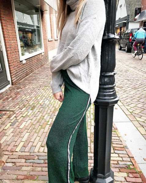 LUREX GLAM PANTS GREEN
